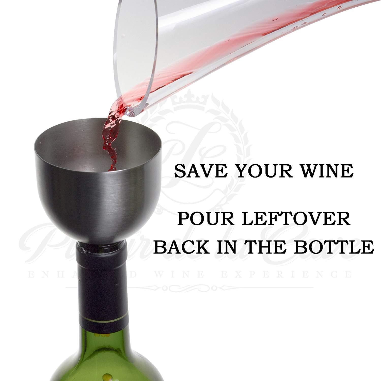 Funnel on a wine bottle