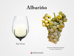 Festive white wine in glass besides grapes