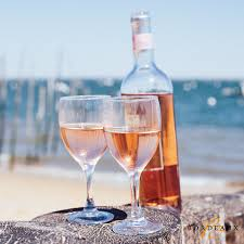 Festive Rose Wine with ocean in background