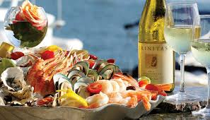 Festive white Wine with Seafood platter