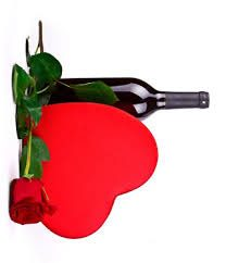 Valentine's Day Heart with Wine Bottle and Rose