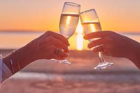 Valentine's Day Wine Glasses toasting at Sunset