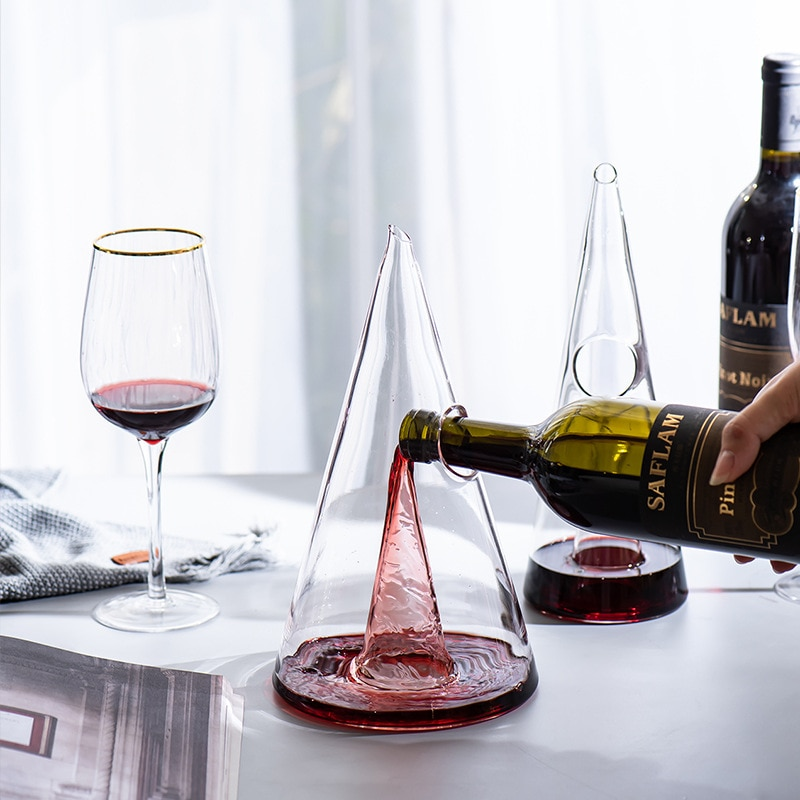 Pouring wine into a wine decanter